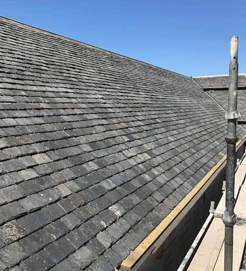 pitched roof with gutter